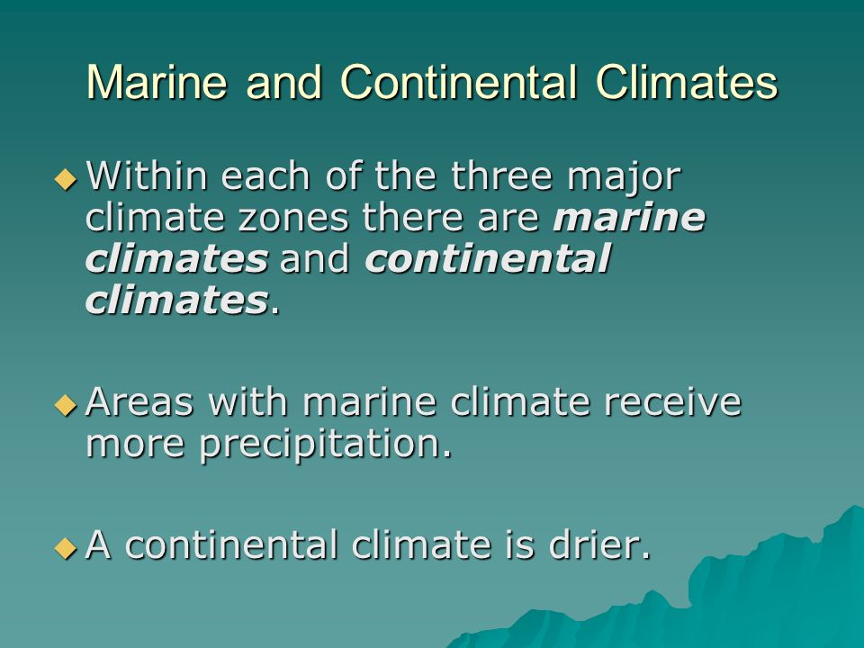 Marine and Continental Climates