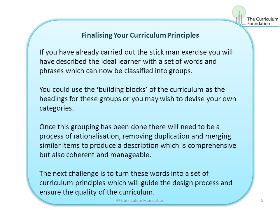 Finalising Your Curriculum Principles