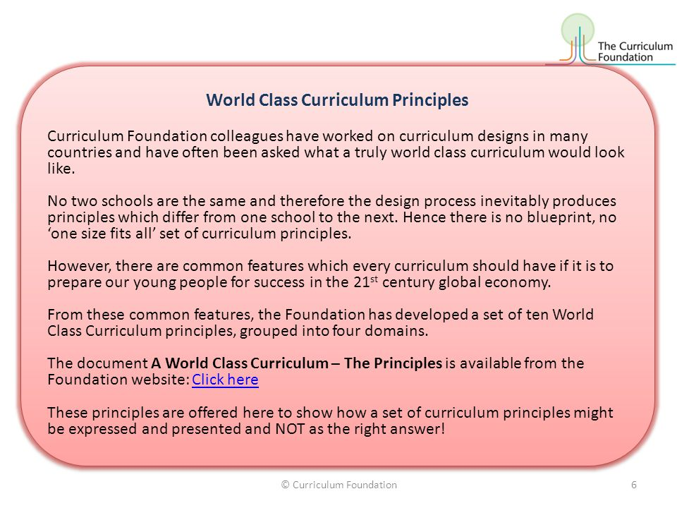 World Class Curriculum Principles