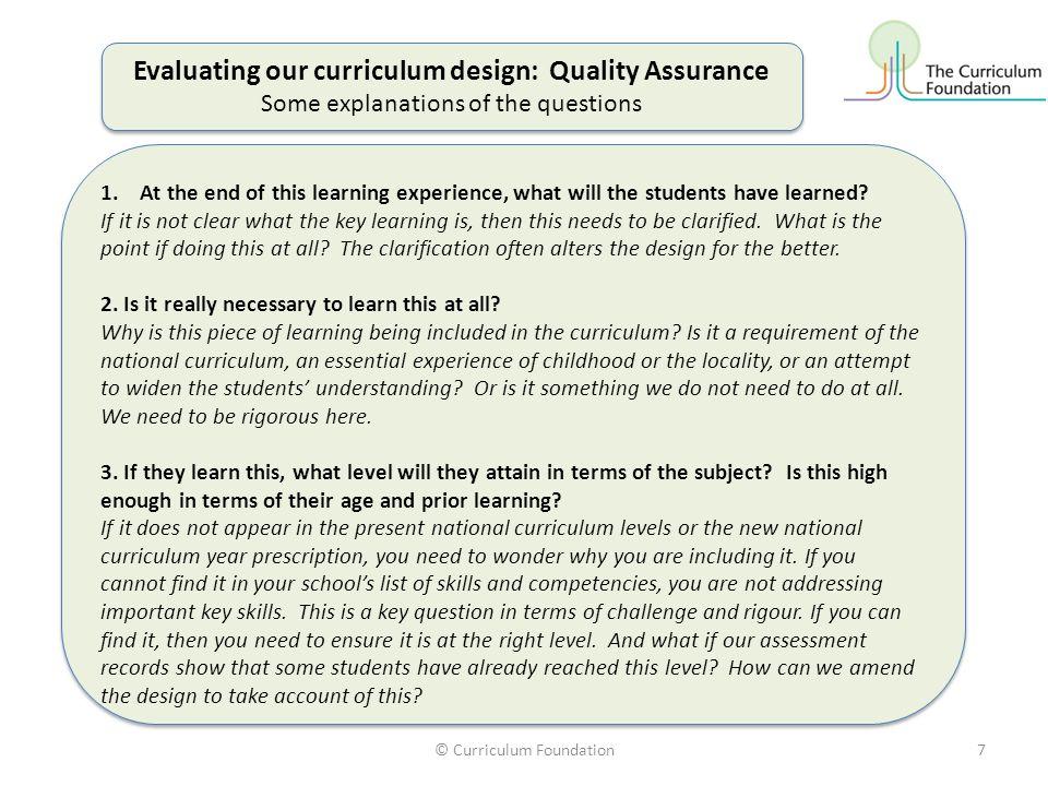 Evaluating our curriculum design: Quality Assurance