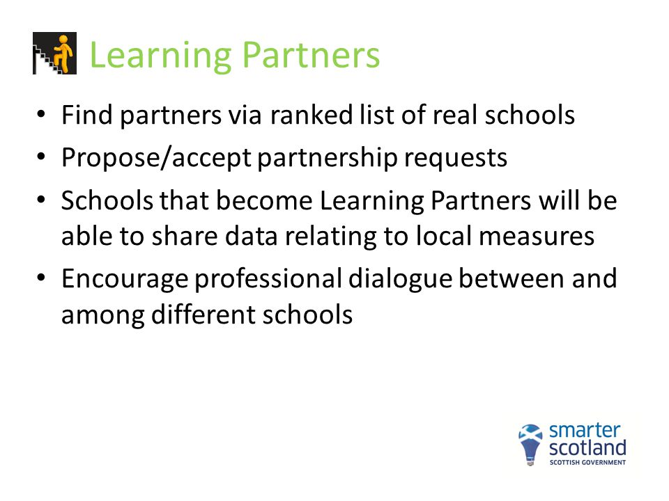 Learning Partners Find partners via ranked list of real schools