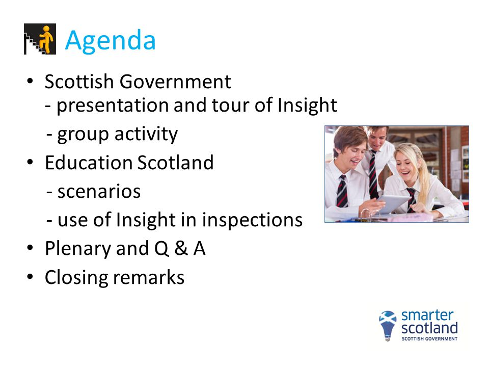 Agenda Scottish Government - presentation and tour of Insight