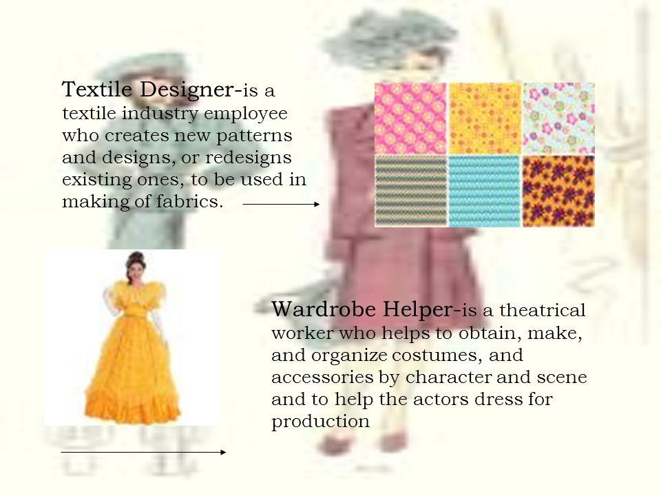Textile Designer-is a textile industry employee who creates new patterns and designs, or redesigns existing ones, to be used in making of fabrics.