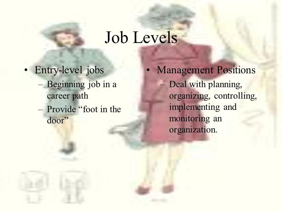 Job Levels Entry-level jobs Management Positions
