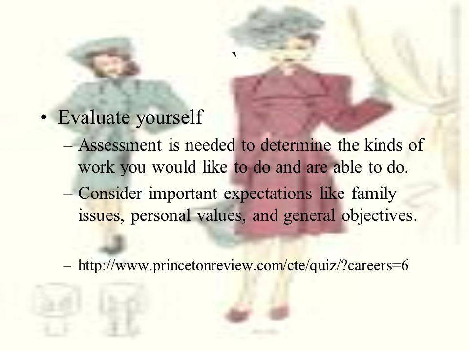 ` Evaluate yourself. Assessment is needed to determine the kinds of work you would like to do and are able to do.