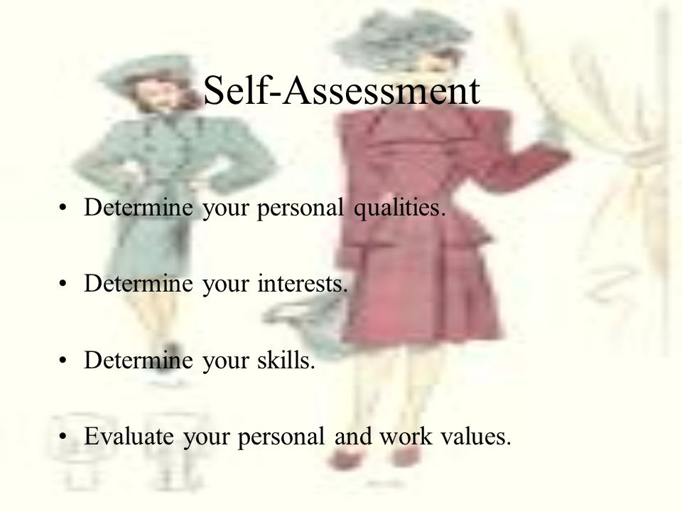 Self-Assessment Determine your personal qualities.