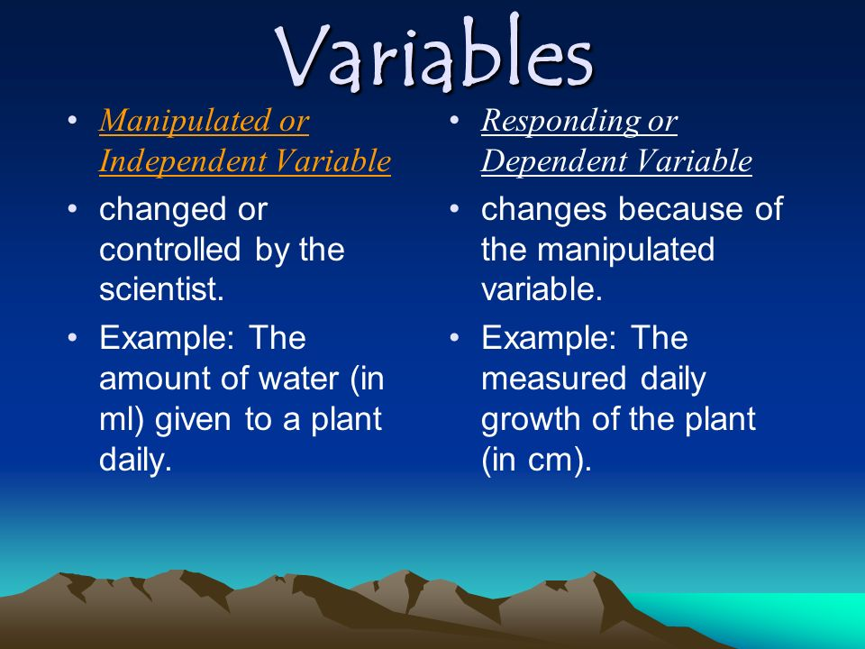 Variables Manipulated or Independent Variable
