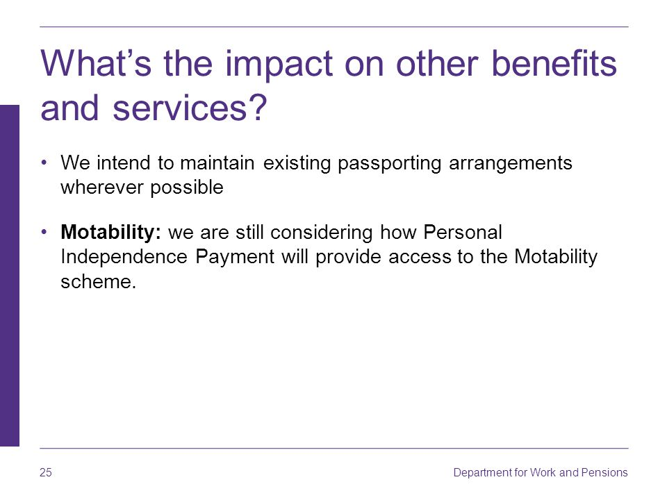 What's the impact on other benefits and services