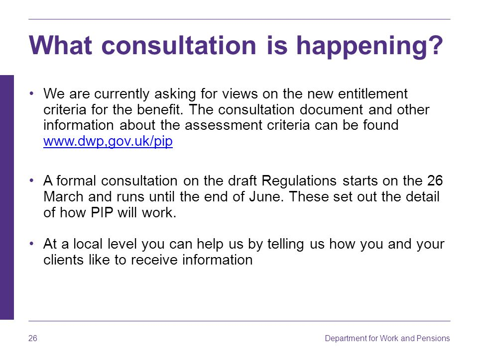 What consultation is happening