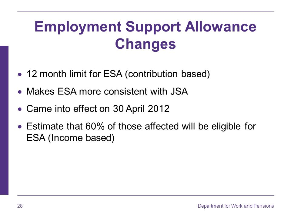 Employment Support Allowance Changes