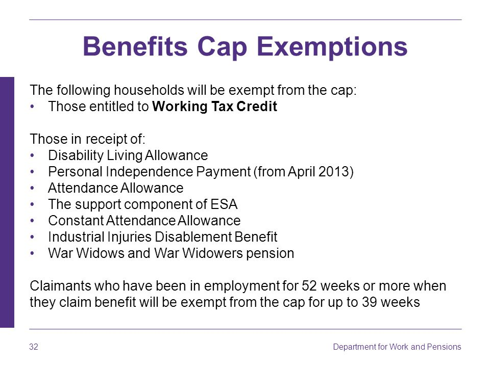 Benefits Cap Exemptions