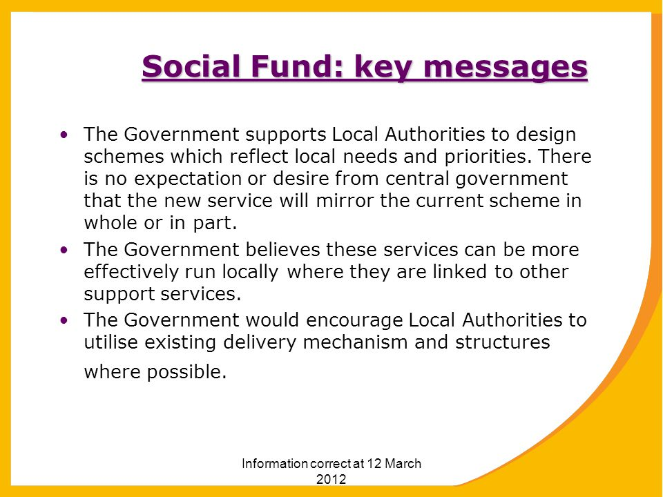 Social Fund: key messages