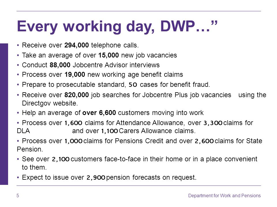 Every working day, DWP…