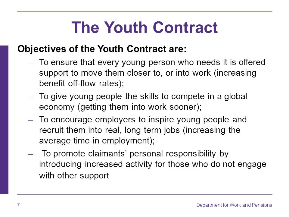 The Youth Contract Objectives of the Youth Contract are: