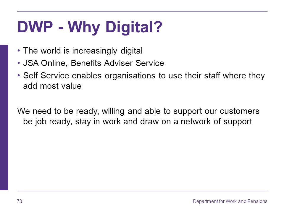 DWP - Why Digital The world is increasingly digital