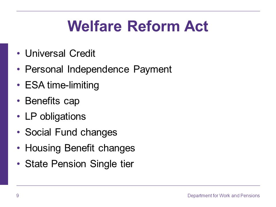 Welfare Reform Act Universal Credit Personal Independence Payment