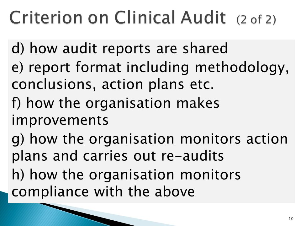 Criterion on Clinical Audit (2 of 2)