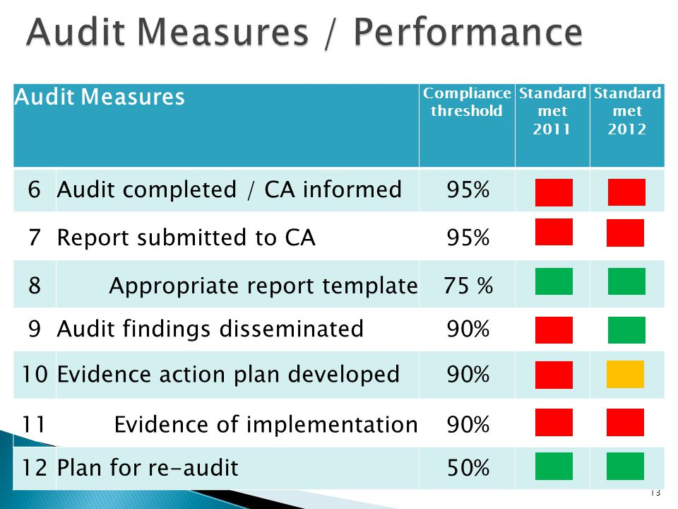 Audit Measures / Performance