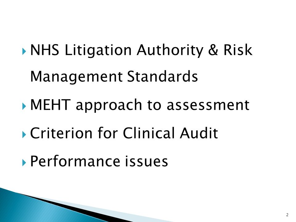 NHS Litigation Authority & Risk Management Standards