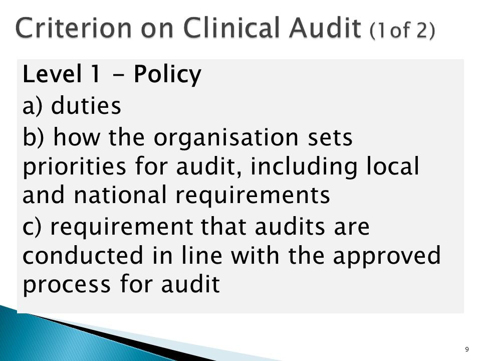 Criterion on Clinical Audit (1of 2)