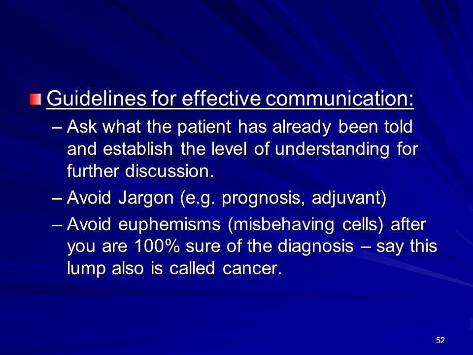 Guidelines for effective communication: