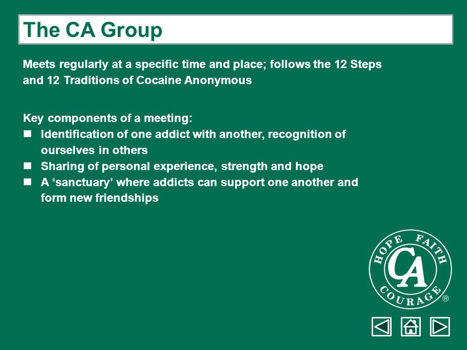 The CA Group Meets regularly at a specific time and place; follows the 12 Steps. and 12 Traditions of Cocaine Anonymous.