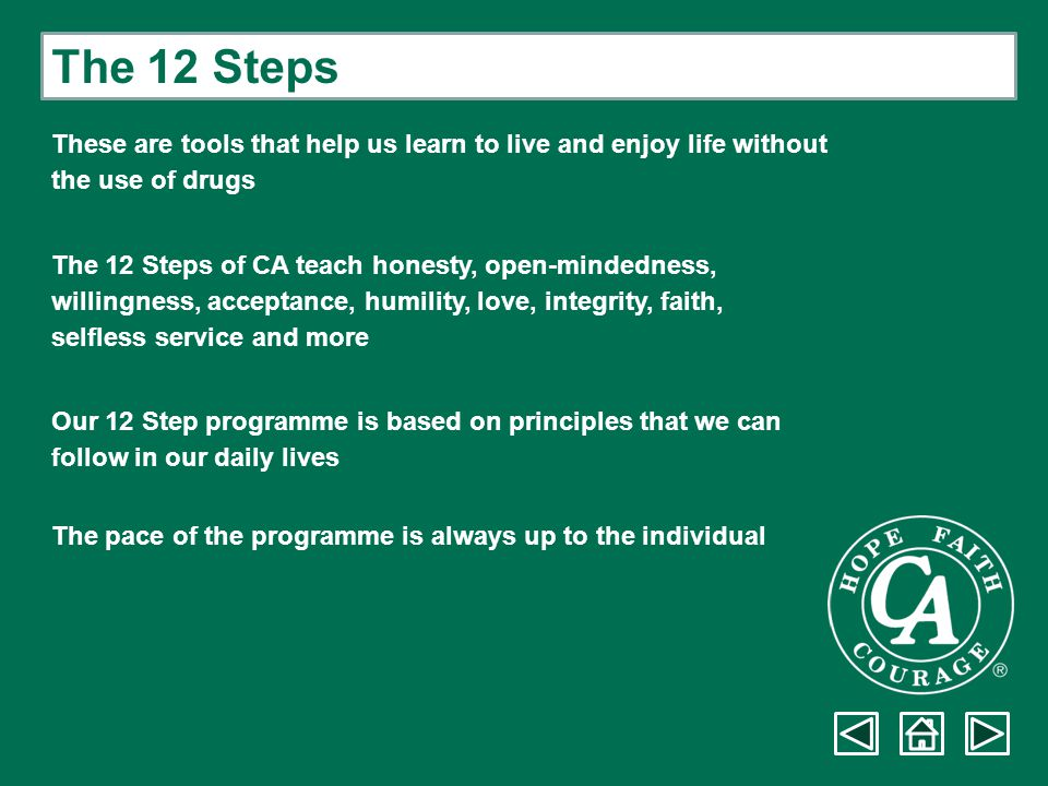 The 12 Steps These are tools that help us learn to live and enjoy life without. the use of drugs.