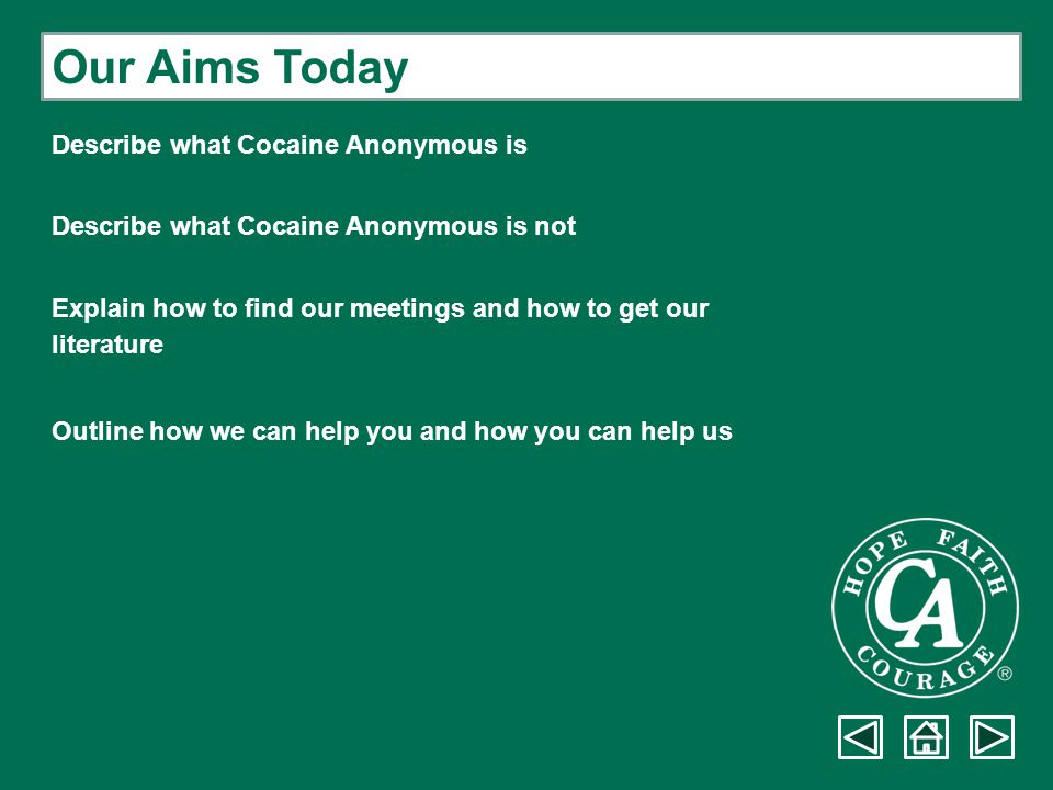 Our Aims Today Describe what Cocaine Anonymous is