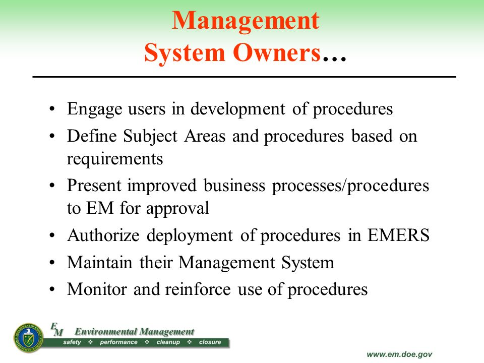 Management System Owners…