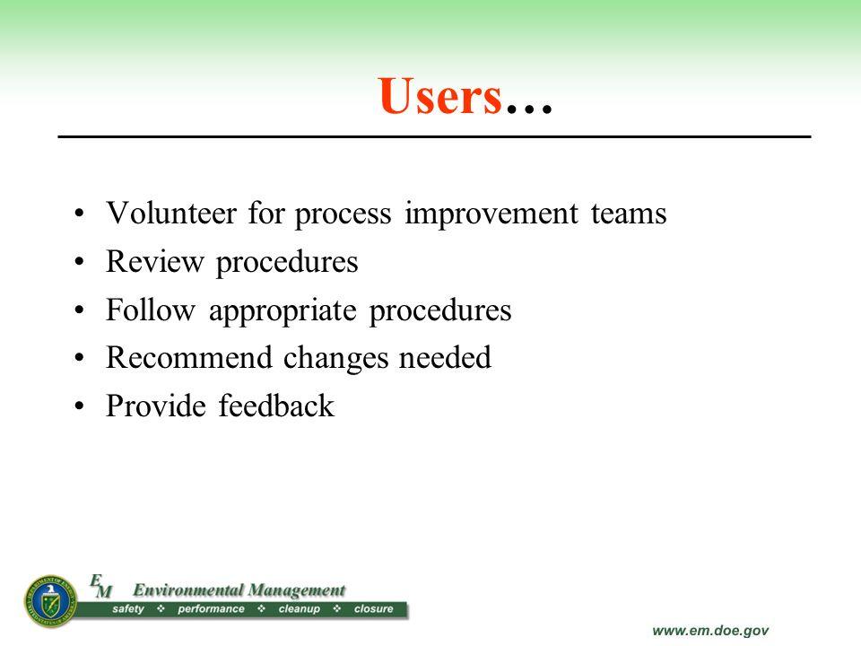 Users… Volunteer for process improvement teams Review procedures