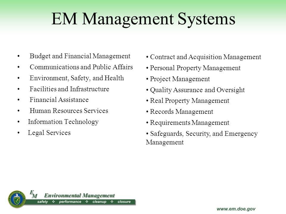 EM Management Systems Budget and Financial Management
