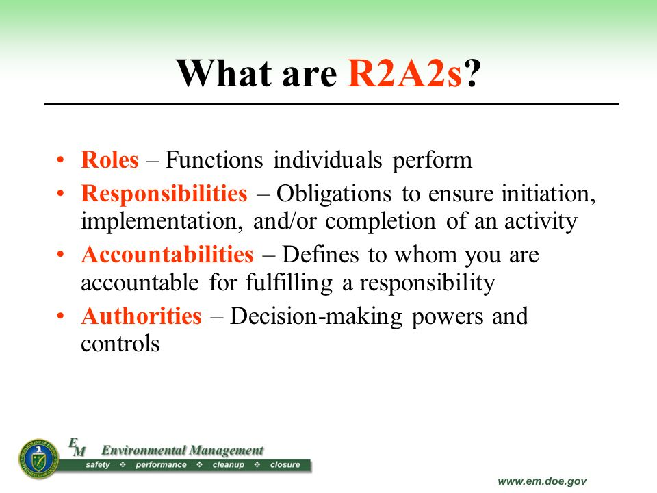 What are R2A2s Roles – Functions individuals perform