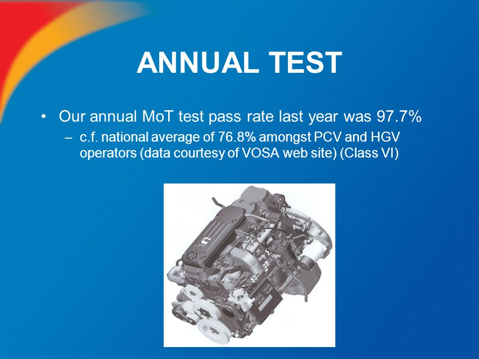 ANNUAL TEST Our annual MoT test pass rate last year was 97.7%