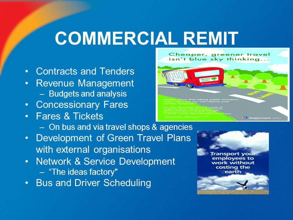 COMMERCIAL REMIT Contracts and Tenders Revenue Management