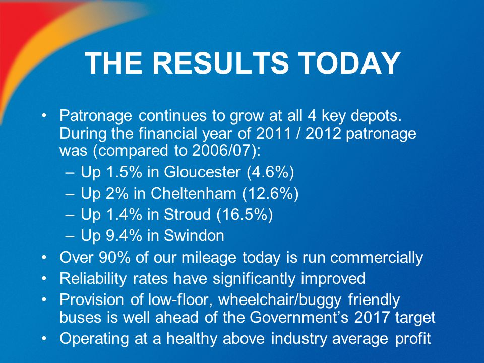 THE RESULTS TODAY Patronage continues to grow at all 4 key depots. During the financial year of 2011 / 2012 patronage was (compared to 2006/07):