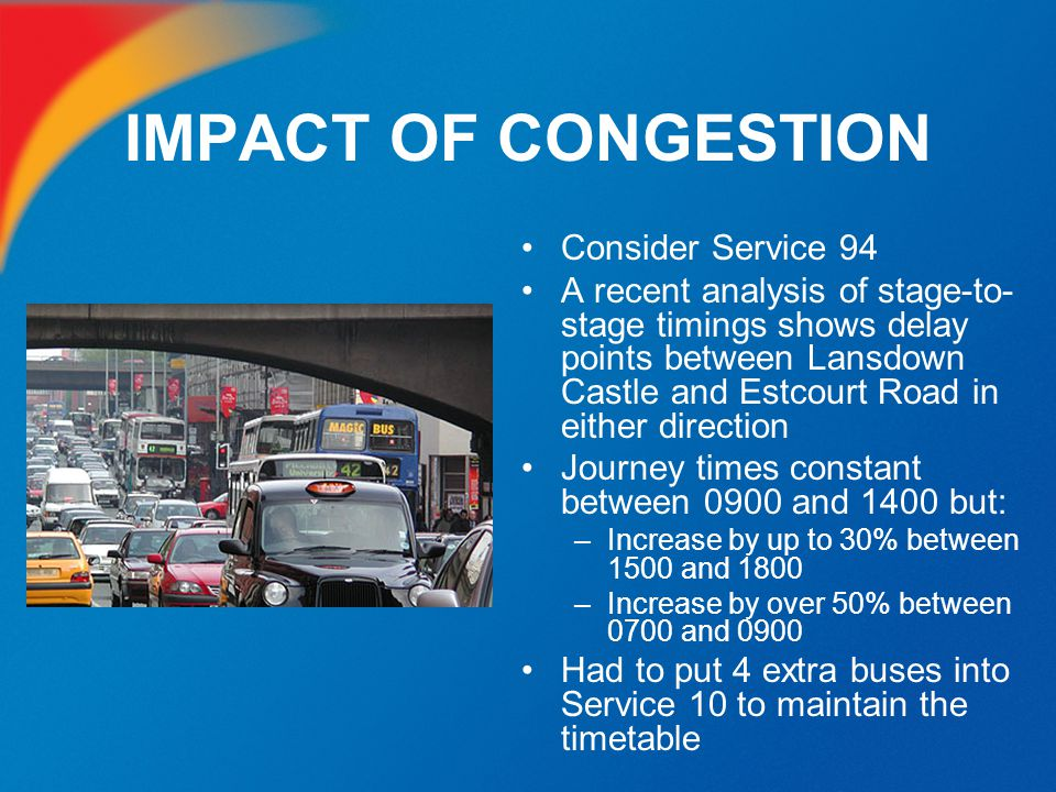 IMPACT OF CONGESTION Consider Service 94