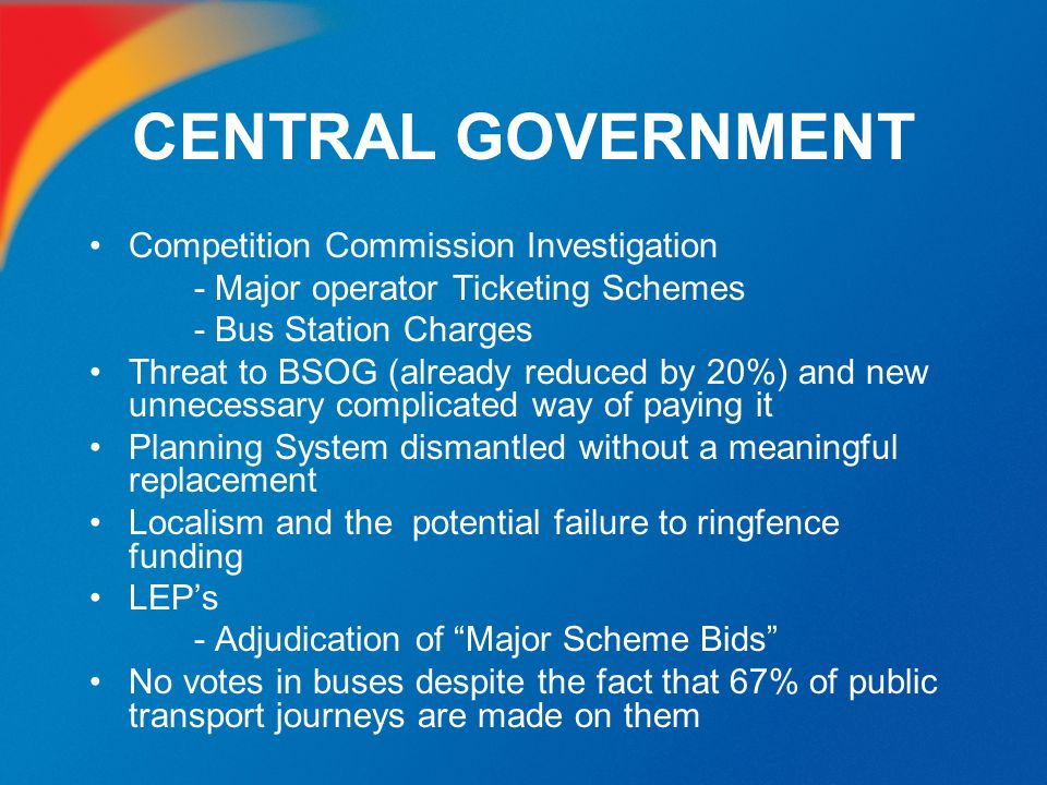 CENTRAL GOVERNMENT Competition Commission Investigation