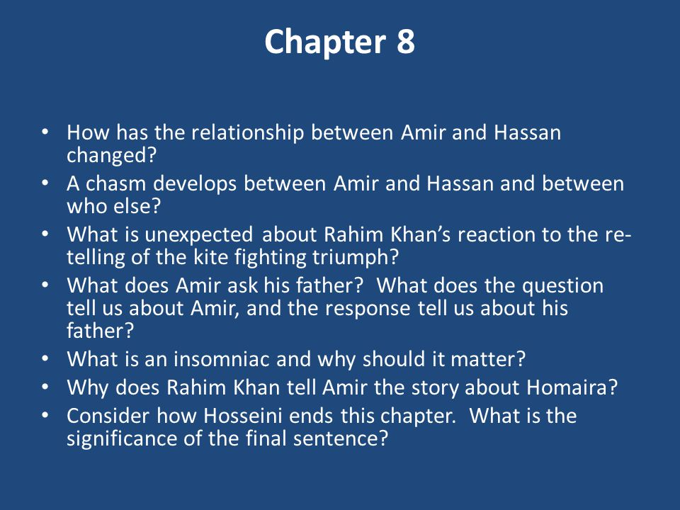 relationship between amir and baba essay Sjanger: essay, lastet opp: 13052010  rendered childless amir and soraya's  relationship is slowly falling apart, when amir receives a call  the relationship  between baba and hassan's father, ali, is also one of the elements that received .