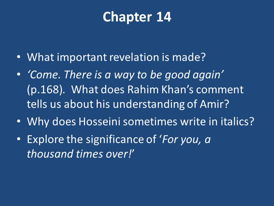 Chapter 14 What important revelation is made
