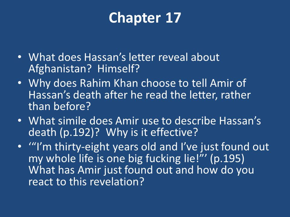 Chapter 17 What does Hassan's letter reveal about Afghanistan Himself
