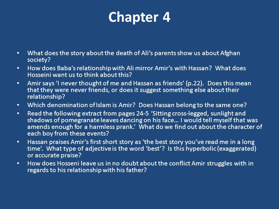 Chapter 4 What does the story about the death of Ali's parents show us about Afghan society