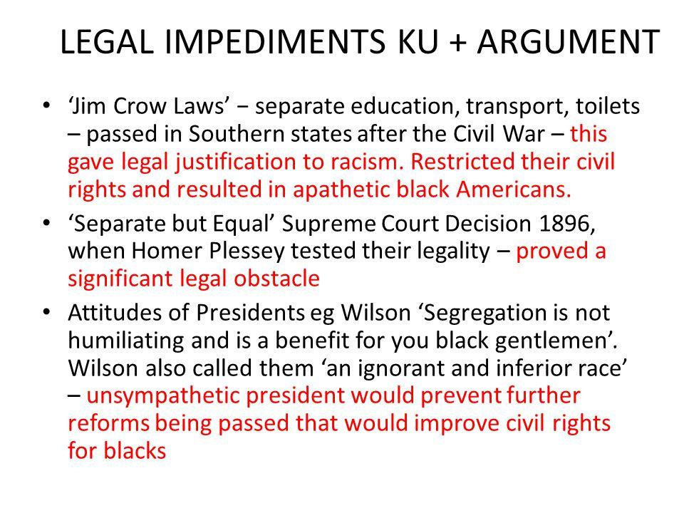 LEGAL IMPEDIMENTS KU + ARGUMENT