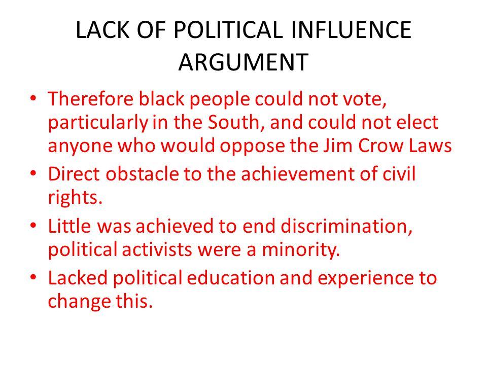 LACK OF POLITICAL INFLUENCE ARGUMENT