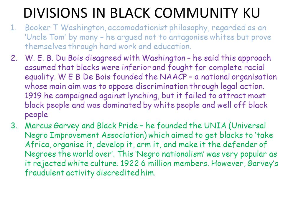 DIVISIONS IN BLACK COMMUNITY KU