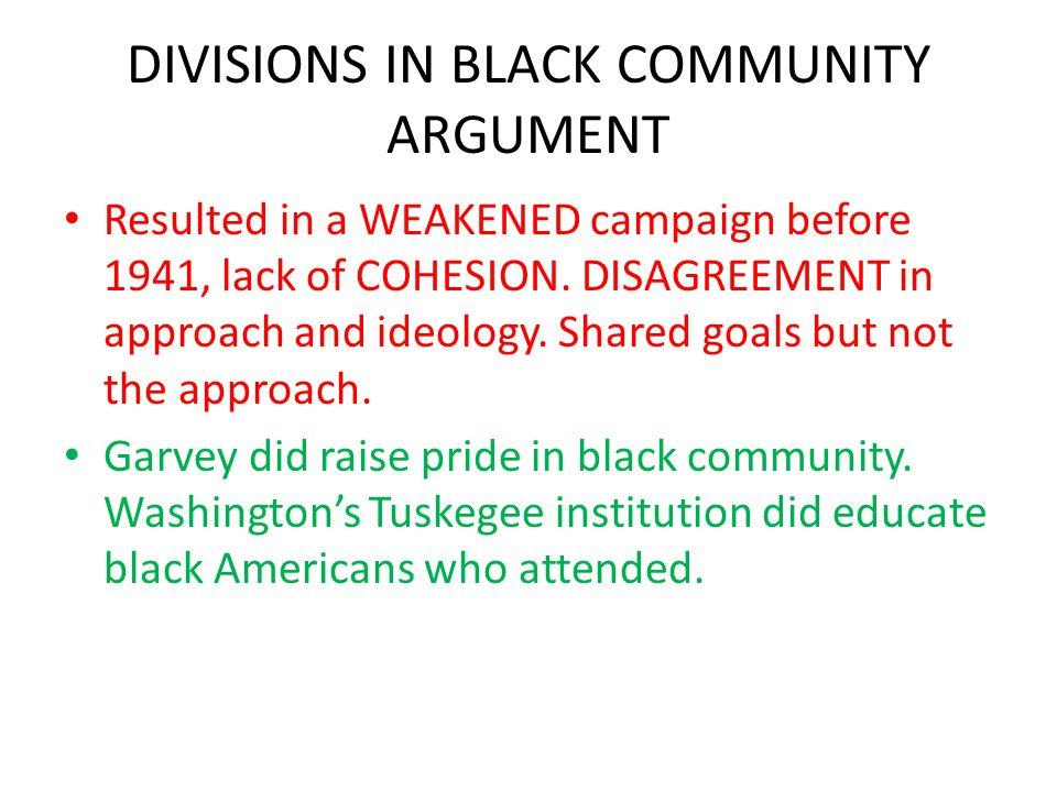 DIVISIONS IN BLACK COMMUNITY ARGUMENT