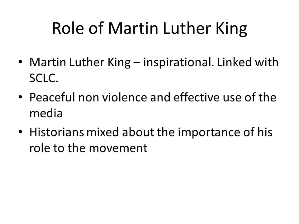 Role of Martin Luther King