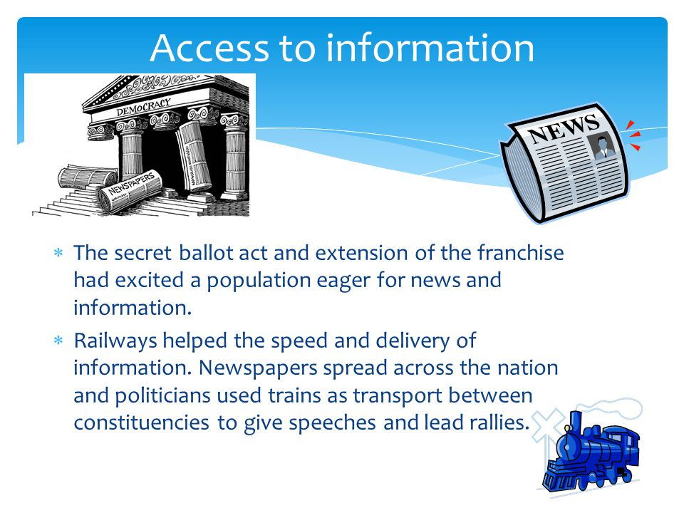 Access to information The secret ballot act and extension of the franchise had excited a population eager for news and information.