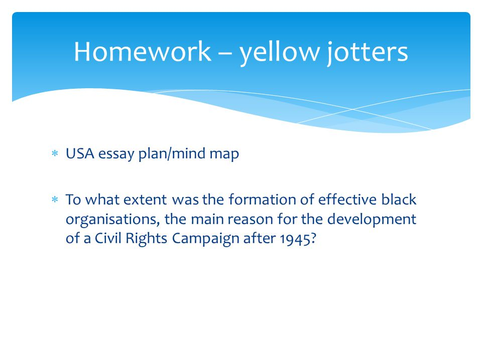 Homework – yellow jotters