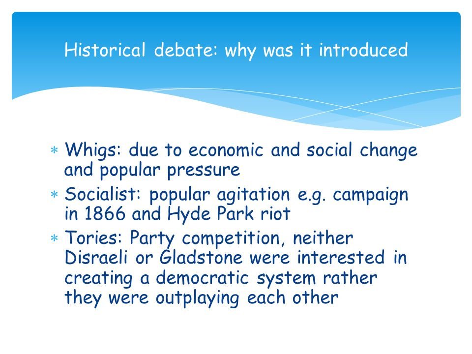 Historical debate: why was it introduced