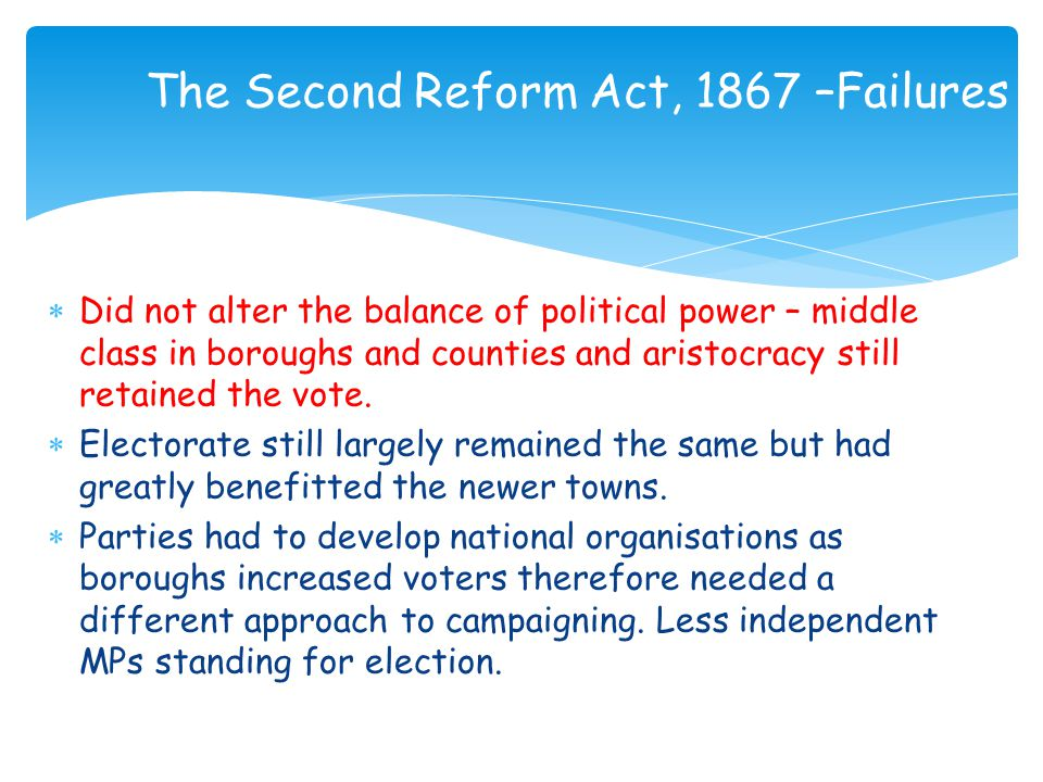 The Second Reform Act, 1867 –Failures